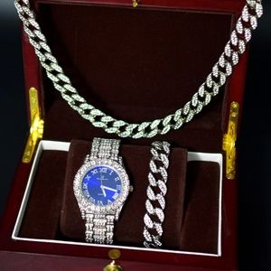Other - Full Iced Out Blue Face Watch, Necklace, Bracelet